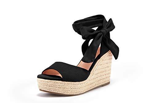 Womens Tie Up Peep Toe Espadrille Platform Wedges Sandals Classic Ankle Strap Shoes Black, Size 10