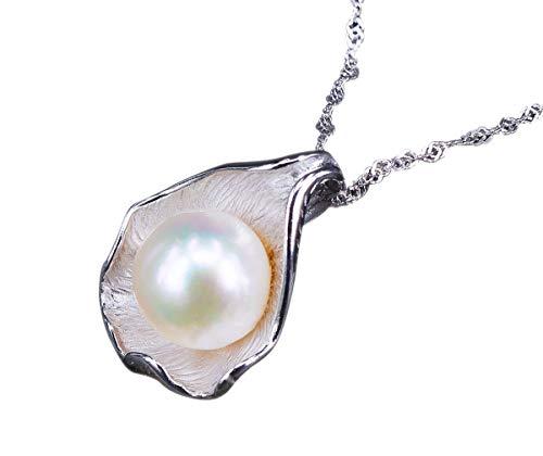 NicoWerk Damen Perlenkette Muschelschal aus 925 Sterling Silber Weiß Echte Perlen Zuchtperlen Groß PKE137