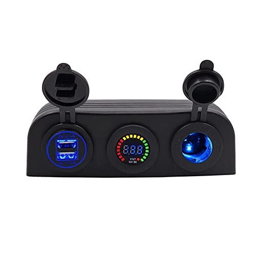 YOWYOM Panel tipo tienda de campaña de tres agujeros 4.2 A, cargador USB dual, 12 V/24 V, voltímetro para coche, motocicleta, barco, vehículos marinos, ATV RV (nombre de color: rojo)