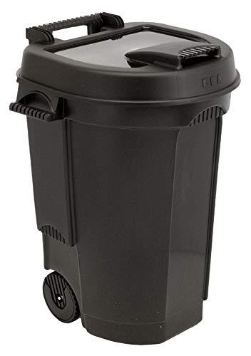 Spetebo Garten Abfalltonne mit Deckel fahrbar in schwarz - 110 Liter - Mülltonne Gartentonne Abfalleimer Gartenkarre Abfallbehälter