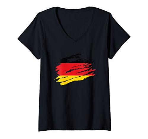Damen Deutsche Flagge Deutschland Fußball Handball Basketball T-Shirt mit V-Ausschnitt