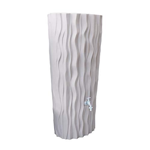 Regentonne Regenwassertank Alana 160 Liter taupe aus UV- und witterungsbeständigem Material. Regenwassertonne mit integrierter Pflanzschale und hochwertigen Messinganschlüssen