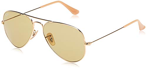 Ray-Ban RB3025 Classic Evolve Aviator Sunglasses, Gold/Green Photochromic, 55 mm