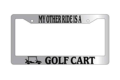 License Plate Frames, License Plate Frame MY OTHER RIDE IS A GOLF CART w/LOGO Auto Accessory Applicable to Standard car Unisex Car Licenses Plate Covers Holders Frames for Plates 15x30cm
