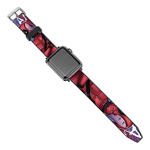 Deadpool & Stitch - Correas de piel para Apple Watch (40 mm, 44 mm, 38 mm, 42 mm, repuesto para hombres y mujeres, correa de piel auténtica para iWatch Series 5 4 3 2 1/SE (38 mm 40 mm)