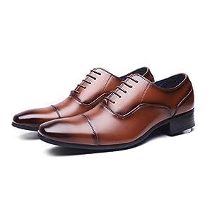 [ジョーマリノ] Jo Marino 日本製 本革 メンズ ビジネスシューズ 紳士靴 ストレートチップ ドレスシューズ 防滑 内羽根 6610 (26.5, ブラウン)