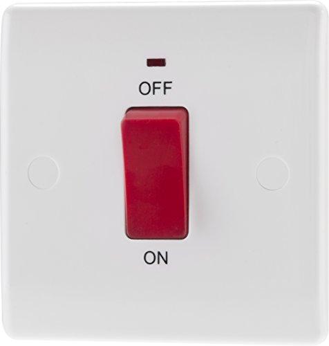 BG Electrical Unidad de control de cocina de doble polo, con indicador de potencia, 45 A, color blanco