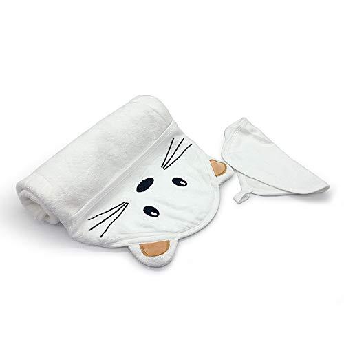 Toalla con capucha de bambú orgánico para bebés recién nacidos (ratón). Tamaño: 90 x 90 cm. Manopla incluida.