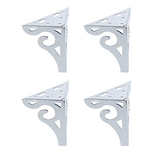 Sourcing Map 21,6 cm Dreieck Eisen Möbelbeine Metallfüße für Sofa, Couch, Stuhl, Tisch, Schreibtisch, Schrank, Schrankfüße, Ersatzfüße, silberfarben, 4 Stück