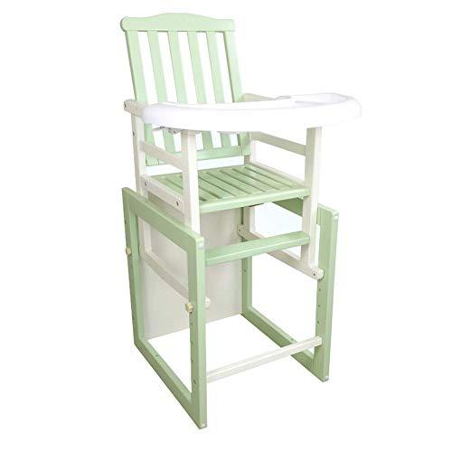 YLCJ hoge stoelen voor baby's, eettafelstoelen, tafel, multifunctioneel, van massief hout, anti-stoom afneembaar (kleur: roze, maat: groot) Large Groen