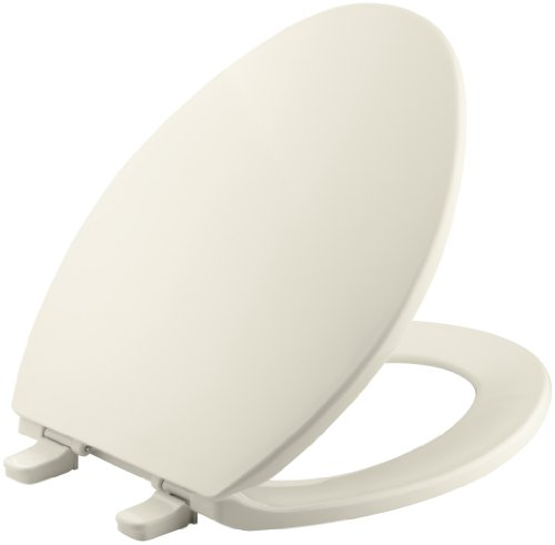 KOHLER K-4774-47 Brevia Elongated Toilet Seatwith Quick-Release Hinges and Quick-Attach Hardware for Easy Clean in Almond