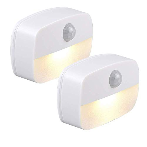 Luz nocturna LED adhesiva, sensor de movimiento PIR con encendido automático, para baño, dormitorio, pasillo, escalera, cocina [paquete de 2] (blanco cálido)