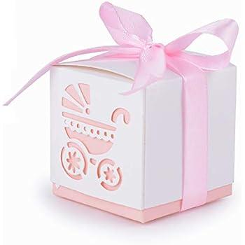 50 Piezas Caja Bombones Regalo pequeña Bautizo para Niña, Exquisito Caja Caramelos con patrón Coche de bebé y cintas elegantes - 【 6 * 6 * 6cm 】 Baby Shower Decoración de Escritorio: Amazon.es: Hogar