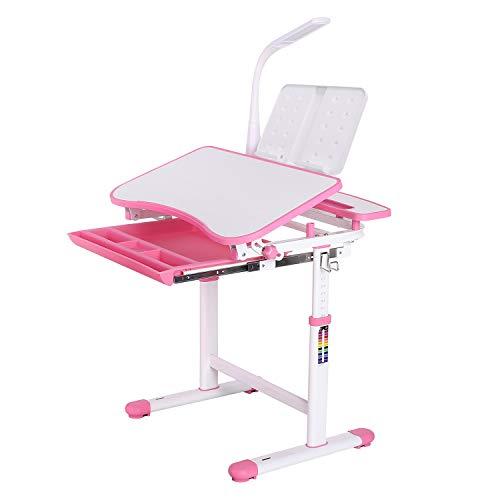 Homfa Kinderschreibtisch Schülerschreibtisch Kindertisch Schreibtisch höhenverstellbar, mit kippbarem Holztisch, antireflektierender Tisch, Buchständer, ausziehbare Schublade und Touch-LED rosa