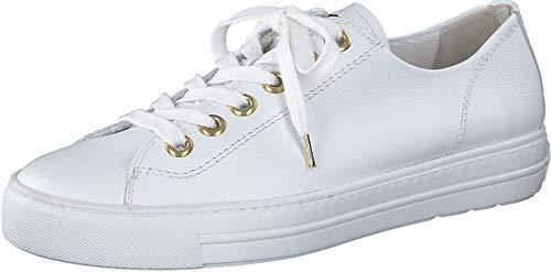 Paul Green Damen SUPER Soft Halbschuhe, Damen Low-Top Sneaker,schnürer,straßenschuhe,Freizeitschuhe,Plateausohle,Weiß/Gold (008),38 EU / 5 UK