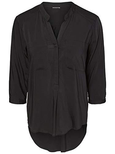 VERO MODA Damen VMERIKA Plain 3/4 Shirt NOOS Bluse, Schwarz (Black), 34 (Herstellergröße: XS)