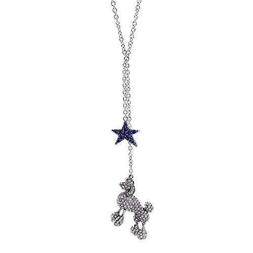 Collar largo Estrella azul Collar con colgante de perro Joyas para mujer Moda clásica joyería exquisita vintage Hombres Mujeres Niños Regalos para fiestas navideñas