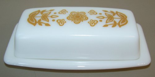 "1960-1970 - Corning PYREX Glass Covered Butter Dish"" Butterfly Gold"" Pattern"