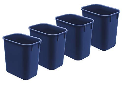 Papelera de Plástico Cubo de Basura 12 litros de capacidad (4 unidades) (Color Azul)