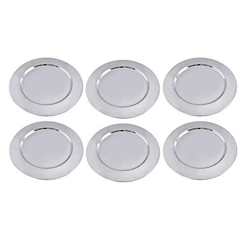 Kosma - Set di 6 piatti di carica, in acciaio inox lucidato, con base decorativa, 33 cm