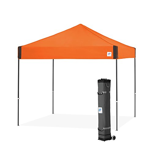 E-Z UP Pyramid Instant Shelter Canopy, 10' x 10' with Wide-Trax Roller Bag & 4 Piece Spike Set, Steel Orange