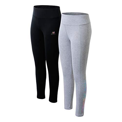 New Balance Girls' Active Leggings - 2 Pack Full Length Performance Yoga Pants (Little Girl/Big Girl), Size 7/8, Grey/Black