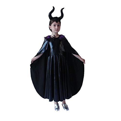 Disfraz de Cosplay de bruja malvada malfica de pelcula para nias, vestido negro de reina + capa, vestido elegante de fiesta de fantasa de Halloween