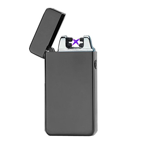 Emsmil USB Mechero Electrico Encendedor Lighter Antiviento Electronico Recargable Doble Arco sin Llama para Cigarrillos Metal Clasico de Hombre Negro