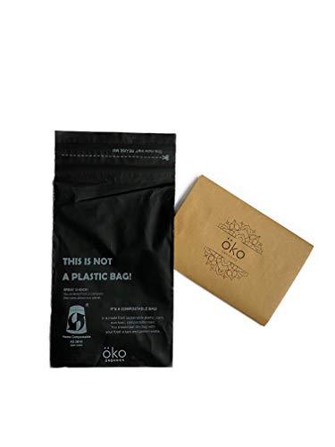Öko Organics Sobres de envios compostables Bolsas para envío ropa Sobre NO plástico autocierre postal por correo grandes autoadhesivas paquetes textiles colores negro Ecofriendly PLA PBAT M - Pack 50