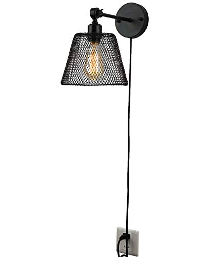 Aplique Pare Con Enchufe Estudiar Lámpara De Pared Interior Orientable Mate Negro Pantalla E27 Lámparas Para Lectura Pasillo Comedor Cocina Cabecera Cuarto Apliques Iluminación