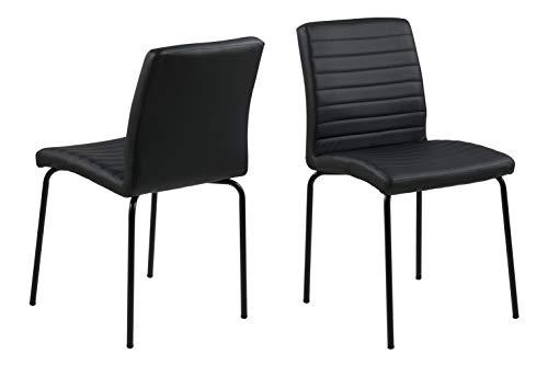 Eine Marke von Amazon - Movian Kander- Set aus 2 Esszimmerstühlen, 52 x 47 x 86,5 cm, Schwarzes PU, schwarze Metallbeine
