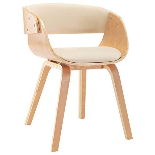 Ausla Sillas de comedor de piel sintética y estructura de madera, sillas modernas de cocina con respaldo y reposabrazos, sillas de comedor, 53 x 52 x 70 cm, color crema y marrón claro