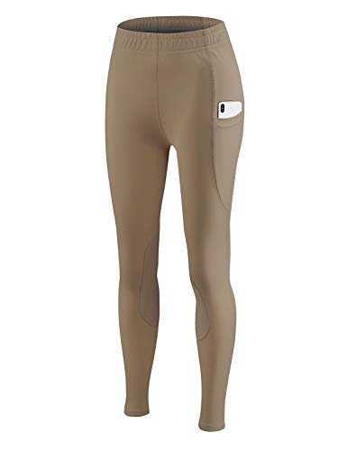 BALEAF Kid's Riding Tights Knee-Patch Breeches Girls Horse Equestrian Schooling Pants Pocket UPF50+ Tan L