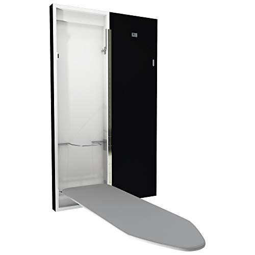 Eureka_MFG Black Painted Wall Mounted Folding Deluxe Ironing Board