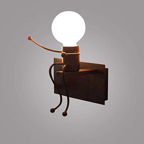 Zzaoxin Luces de pared de hierro modernas, E27 Aplique de pared moderno Lámpara de pared Humanoide Lámpara de sala Sala de estar Iluminación de pared junto a la pared Cableado (no contiene fuente de l