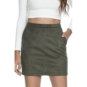 Fahsyee High Waisted Mini A-Line PencilShort Leather Skirt 4