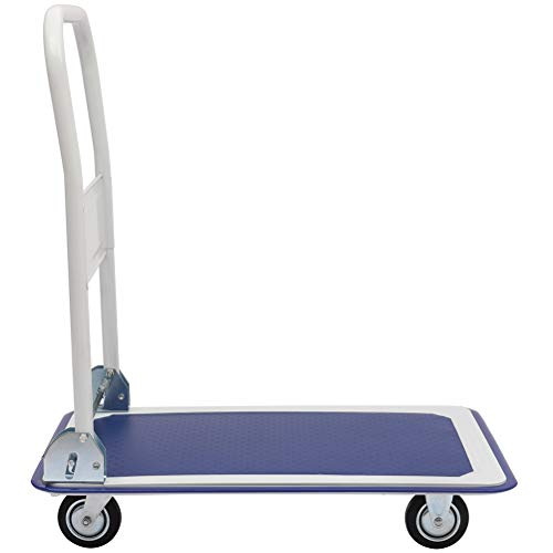 Platform Moving Hand Truck Foldable for Easy Storage and 360 Degree Wheels with 330lb Load Capacity Blue and White Color