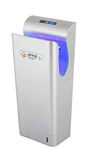 Secador de manos con filtro HEPA, UV de esterilización. y un seco suelo Sistema Jet Dryer Style rellenarse–más rápido y potente secador de manos–Plata
