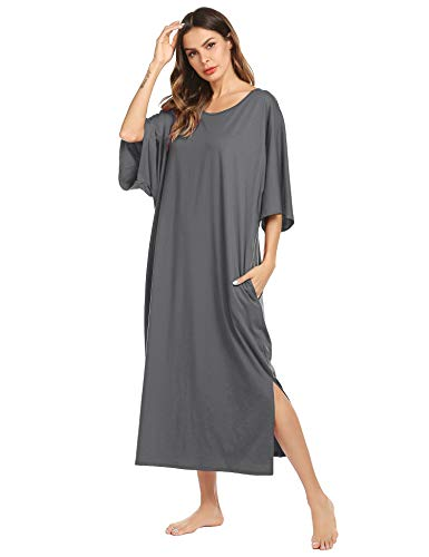 Ekouaer Nightgown, Womens Round Neck Loungewear Oversized Pajama Loose Pockets Long Sleep Dress