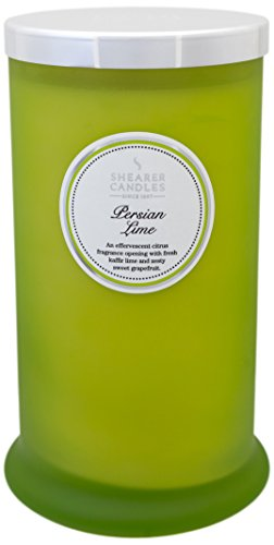 Shearer Candles Persian Lime Scented Tall Pillar Jar Candle with Silver Lid-Green