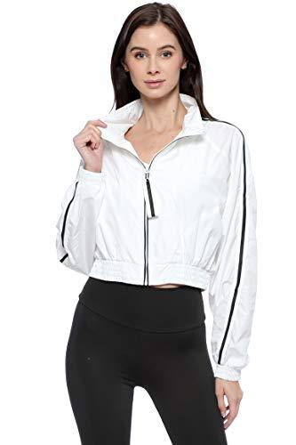 Urban Look Women's Lightweight Fashion Windbreaker Zip Up Jacket (Large, A White)