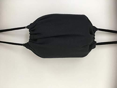 Maske Mundschutz Stoffmaske schwarz Baumwolle 2lagig waschbar Bart Bartträger