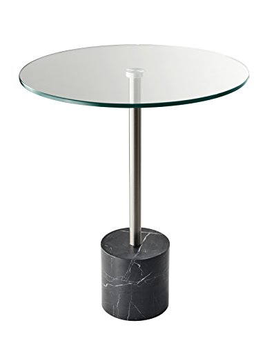 Adesso Blythe End Table, Steel/Black Marble
