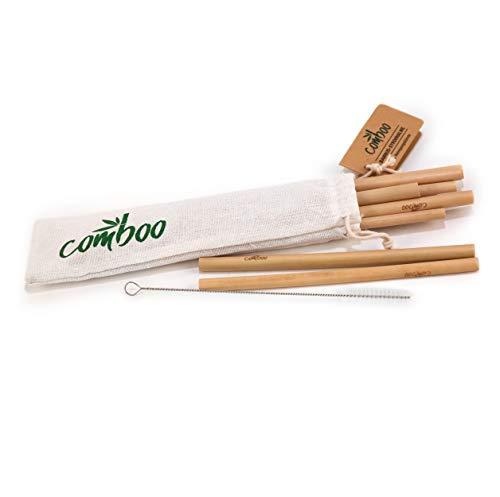 comboo® - 4er Set Bambus-Strohhalme I 100% natürlich I Wiederverwendbar I Umweltfreundlich I Biologisch abbaubar I Handgefertigt (4, 20)