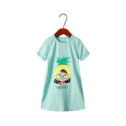 LOKKSI - Camisón de manga corta para niñas (100% algodón, suave, para 3 a 12 años)