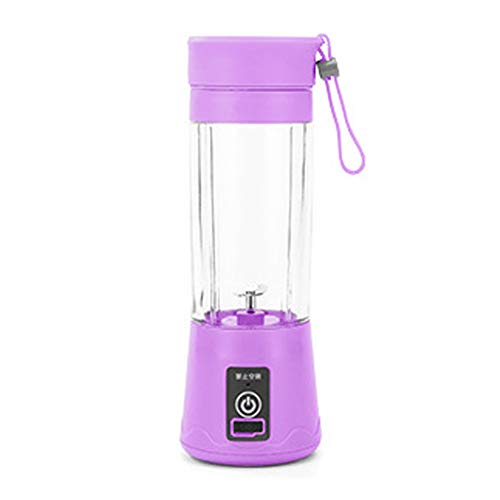 380ml Licuadora Portatil Personal USB Mini Exprimidor Eléctrico Taza de Jugo Vegetales Botella Portátil Purple 2 blades
