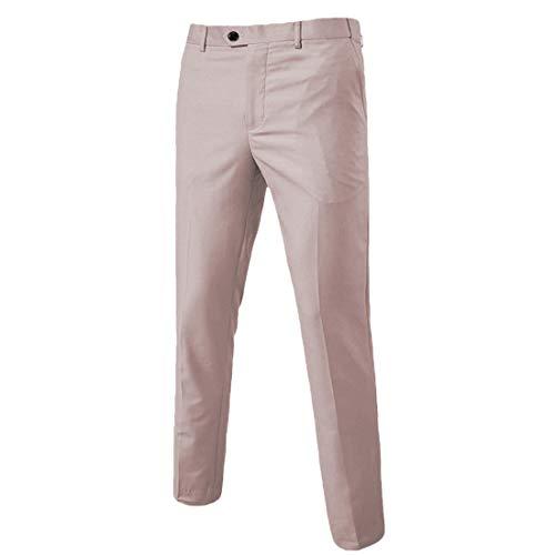 Men's Business Suit Pants Slim Fit Flex Flat Front Pant Beige