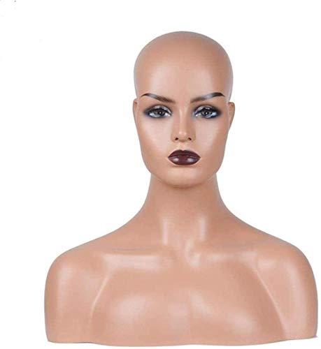 Awningcranks Maniqui Regulable Busto Cabeza de maniquí Profesional, joyería de Fibra de Vidrio y Sombrero, Soporte de Molde para Gafas, maniquí Realista Femenino