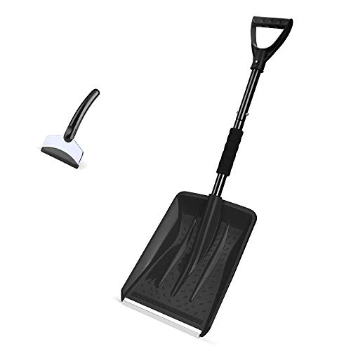 Eventronic Snow Shovel Detachable Snow Shovel with Durable Aluminum Edge Blade DGrip Handle Portable for Emergency Car Camping Home Black with a Gift Snow Scraper