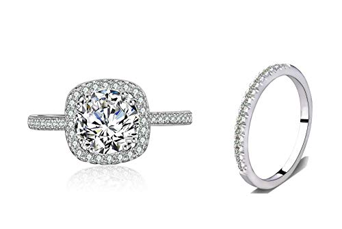 Cz Bridal Ring Set Accented Round Halo Engagement Ring Matching Half Eternity Wedding Band Size 4-10 (Silver, 7)